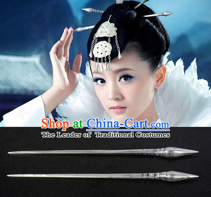 Traditional Handmade Chinese Ancient Classical Hair Accessories Brush Type Hairpin, Silver Hair Sticks Hair Jewellery, Hair Fascinators Hairpins for Women