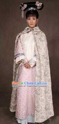 Traditional Ancient Chinese Imperial Consort Costume, Chinese Qing Dynasty Manchu Princess Lady Dress, Cosplay Chinese Mandchous Imperial Princess Delicate Embroidered Clothing for Women