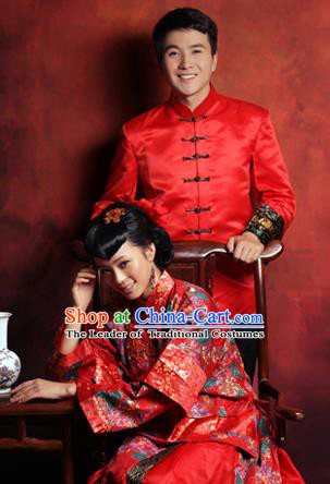 Traditional Ancient Chinese Costume Xiuhe Suits, Chinese Style Bride and Bridegroom Wedding Dress, Red Ancient Dragon And Phoenix Flown Toast Cheongsam for Women for Men