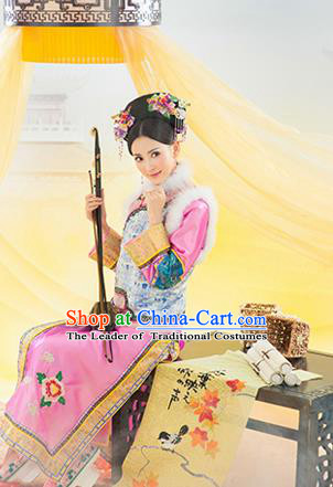 Traditional Ancient Chinese Imperial Consort Costume, Elegant Manchu Clothing, Chinese Qing Dynasty Manchu Imperial Emperess Embroidered Clothing for Women