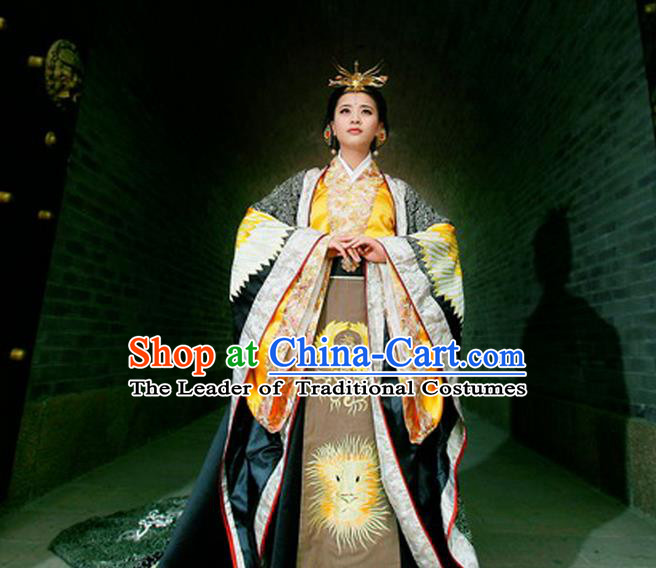 Traditional Ancient Chinese Imperial Empress Costume, Chinese Tang Dynasty Queen Dress, Chinese Wu Ze tian Embroidered Hanfu Clothing for Women