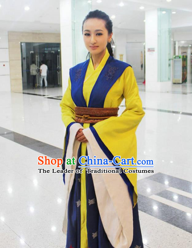 Traditional Ancient Chinese Female Officials Costume, Elegant Hanfu Clothing Chinese Han Dynasty Imperial Emperess Embroidered Clothing for Women