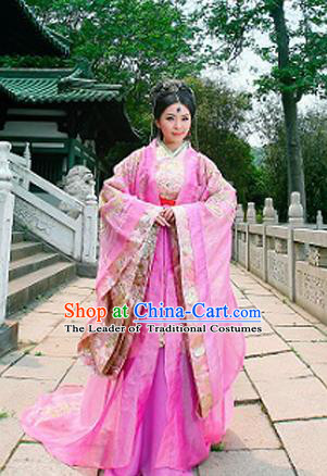 Traditional Ancient Chinese Female Costume, Elegant Hanfu Fairy Clothing Chinese Han Dynasty Imperial Consort Embroidery Trailing Clothing for Women
