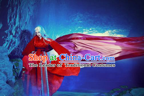 Traditional Ancient Chinese Han Dynasty Swordsman Red Costumes for Women