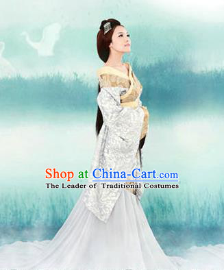 Traditional Ancient Chinese Female Costume, Elegant Hanfu Clothing Chinese Han Dynasty Imperial Emperess Tailing Clothing for Women