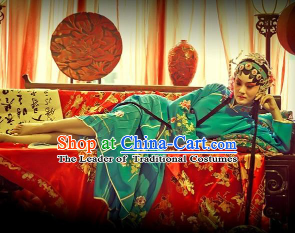 Traditional Ancient Chinese Peking Opera Imperial Consort Costume, Elegant Hanfu Clothing Chinese Tang Dynasty Peking Opera Young Lady Embroidered Clothing for Women