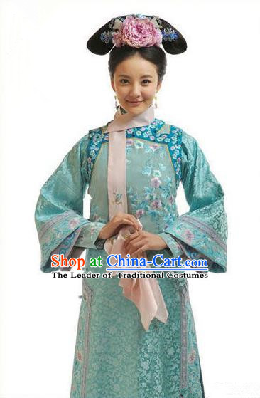 Traditional Ancient Chinese Princess Consort Costume, Chinese Qing Dynasty Manchu Lady Dress, Chinese Mandarin Consort Robes Imperial Concubine Embroidered Clothing for Women