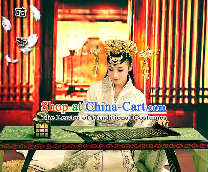 Traditional Ancient Chinese Imperial Consort Luxury Costume, Elegant Hanfu Clothing Chinese Han Dynasty Imperial Empress Embroidered Clothing for Women