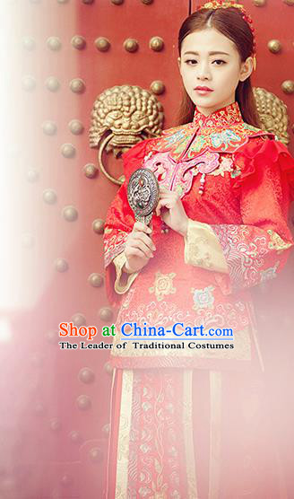 Traditional Ancient Chinese Costume Xiuhe Suits, Chinese Style Wedding Bride Dress, Restoring Ancient Women Red Longfeng Phoenix Flown, Bride Toast Cheongsam for Women