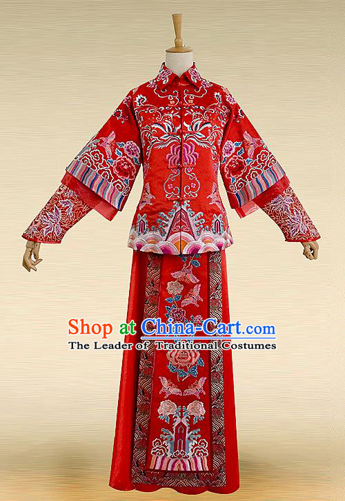 Traditional Ancient Chinese Costume Xiuhe Suits, Chinese Style Wedding Bride Full Dress, Restoring Ancient Women Red Embroidered Flowers Phoenix Slim Flown, Bride Toast Cheongsam for Women