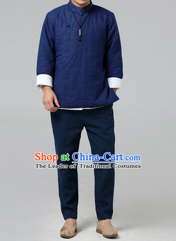Top Chinese National Tang Suits Flax Frock Costume, Martial Arts Kung Fu Slant Opening Blue Jackets, Kung fu Plate Buttons Unlined Upper Garment, Chinese Taichi Cotton-Padded Coats Wushu Clothing for Men