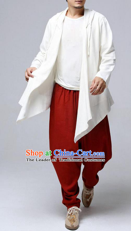 Top Chinese National Tang Suits Flax Frock Costume, Martial Arts Kung Fu White Hooded Cardigan, Kung fu Plate Buttons Unlined Upper Garment, Chinese Taichi Dust Coats Wushu Clothing for Men