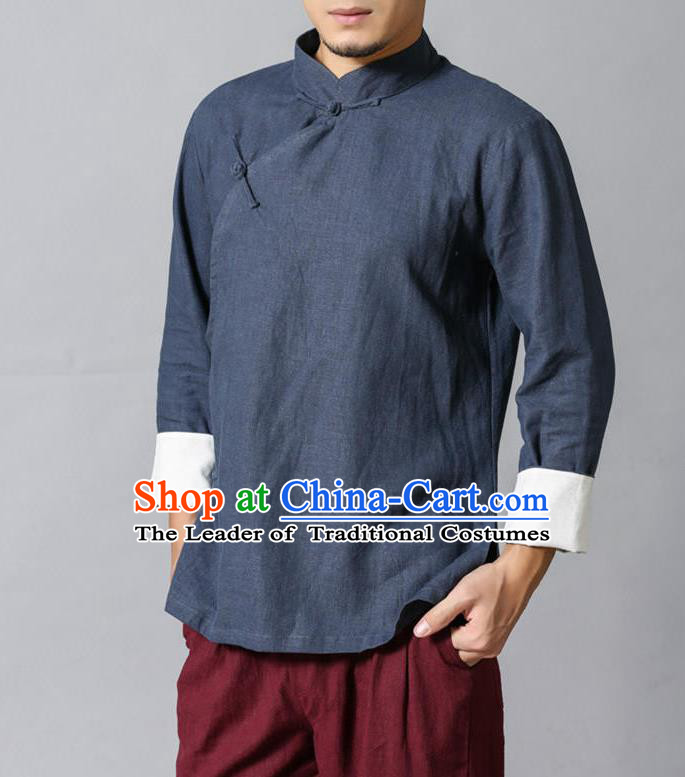 Top Chinese National Tang Suits Flax Frock Costume, Martial Arts Kung Fu Slant Opening Stand Collar Dusty Blue Blouse, Kung fu Plate Buttons Unlined Upper Garment Blouse, Chinese Taichi Shirts Wushu Clothing for Men