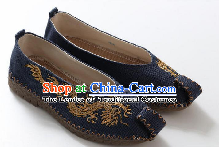 Traditional Top Chinese National Flax Frock Shoes, Martial Arts Kung Fu Embroidered Dragon Blue Cloth Shoes, Kung fu Chinese Taichi Shoes for Men