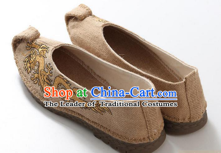 Traditional Top Chinese National Flax Frock Shoes, Martial Arts Kung Fu Embroidered Dragon Beige Cloth Shoes, Kung fu Chinese Taichi Shoes for Men