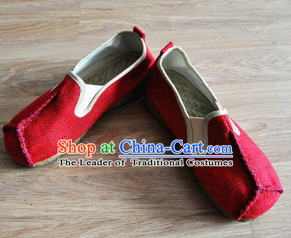 Traditional Top Chinese National Flax Frock Shoes, Martial Arts Kung Fu Rattan Plaited Red Cloth Shoes, Kung fu Chinese Taichi Shoes for Men