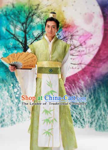 Traditional Ancient Chinese Nobility Childe Costume, Hanfu Dress Chinese Tang Dynasty Imperial Prince Embroidered Bamboo Leaf Clothing for Men