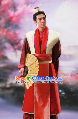 Traditional Ancient Chinese Nobility Childe Costume, Chinese Scholar Hanfu Dress Chinese Tang Dynasty Imperial Prince Red Clothing for Men