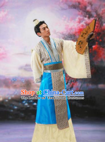 Traditional Ancient Chinese Nobility Childe Costume, Chinese Scholar Hanfu Dress Chinese Tang Dynasty Imperial Prince Clothing for Men