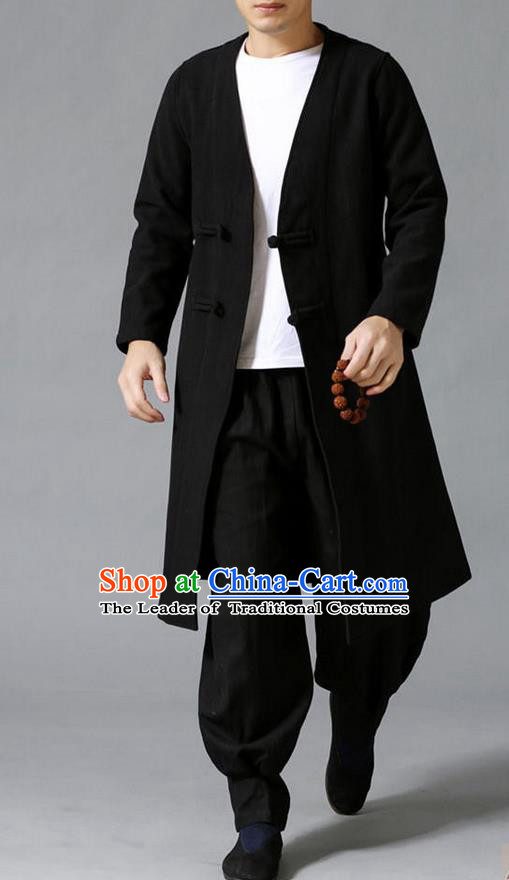 Traditional 	Top Chinese National Tang Suits Linen Costume, Martial Arts Kung Fu Front Opening Black Coats, Kung fu Plate Buttons Jacket, Chinese Taichi Dust Coats Wushu Clothing for Men