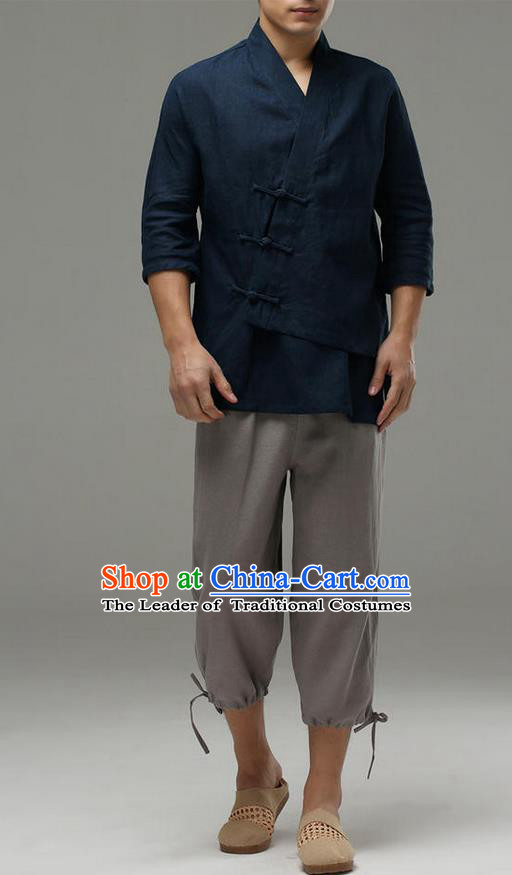 Traditional Top Chinese National Tang Suits Linen Frock Costume, Martial Arts Kung Fu Slant Opening Sleeve Navy Blouse, Kung fu Plate Buttons Unlined Upper Garment, Chinese Taichi Shirts Wushu Clothing for Men