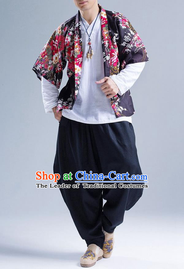 Traditional Top Chinese National Tang Suits Linen Frock Costume, Martial Arts Kung Fu Printing Flowers Cardigan, Kung fu Thin Upper Outer Garment, Chinese Taichi Thin Coats Wushu Clothing for Men