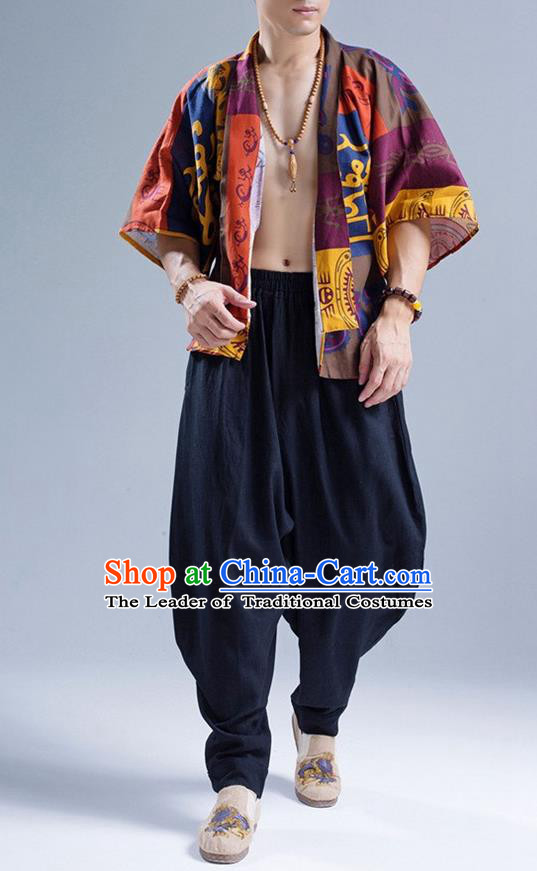 Traditional Top Chinese National Tang Suits Linen Frock Costume, Martial Arts Kung Fu Printing Rock Art Figure Cardigan, Kung fu Thin Upper Outer Garment, Chinese Taichi Thin Coats Wushu Clothing for Men
