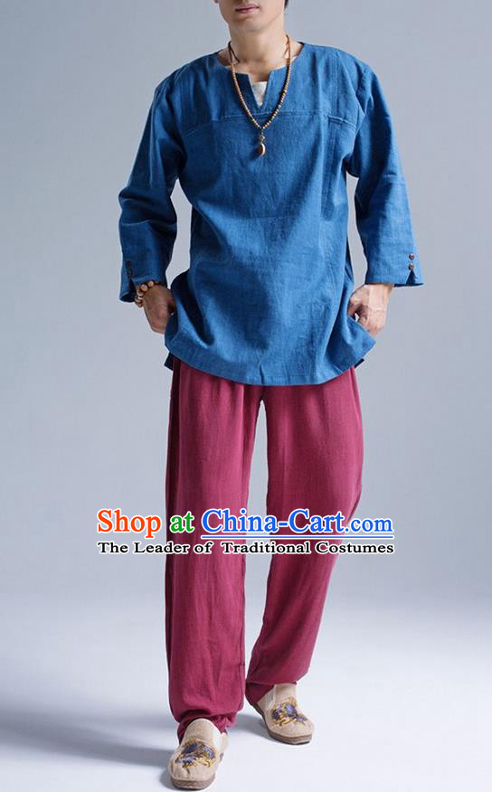 Traditional Top Chinese National Tang Suits Linen Frock Costume, Martial Arts Kung Fu Long Sleeve Light Blue T-Shirt, Kung fu Upper Outer Garment, Chinese Taichi Shirts Wushu Clothing for Men
