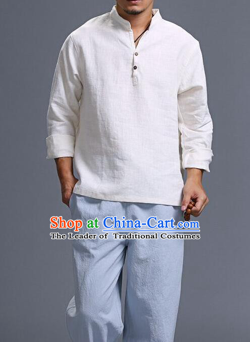 Traditional Top Chinese National Tang Suits Linen Frock Costume, Martial Arts Kung Fu Long Sleeve White T-Shirt, Kung fu Wood Button Upper Outer Garment, Chinese Taichi Shirts Wushu Clothing for Men