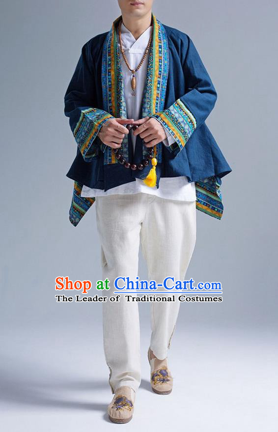 Traditional Top Chinese Yunnan Ethnic Tang Suits Linen Frock Costume, Martial Arts Kung Fu Lacy Blue Cardigan, Kung fu Thin Upper Outer Garment, Chinese Taichi Thin Coats Wushu Clothing for Men