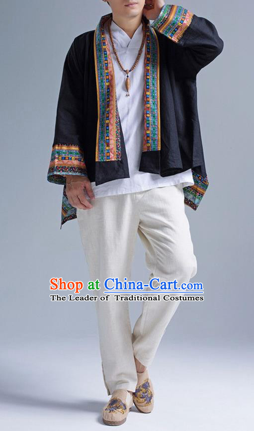 Traditional Top Chinese Yunnan Ethnic Tang Suits Linen Frock Costume, Martial Arts Kung Fu Lacy Black Cardigan, Kung fu Thin Upper Outer Garment, Chinese Taichi Thin Coats Wushu Clothing for Men