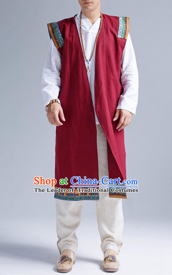 Traditional Top Chinese National Tang Suits Linen Frock Costume, Martial Arts Kung Fu Dark Red Embroidered Cardigan, Kung fu Unlined Upper Garment, Chinese Taichi Vest Coats Wushu Clothing for Men