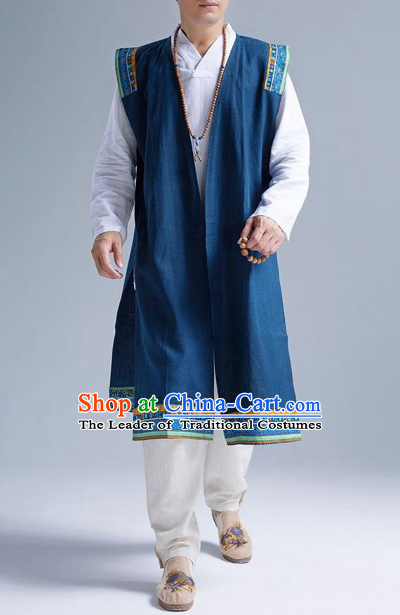 Traditional Top Chinese National Tang Suits Linen Frock Costume, Martial Arts Kung Fu Blue Embroidered Cardigan, Kung fu Unlined Upper Garment, Chinese Taichi Vest Coats Wushu Clothing for Men