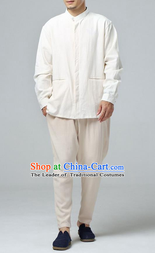 Traditional Top Chinese National Tang Suits Linen Frock Costume, Martial Arts Kung Fu White Jacket Shirt, Kung fu Thin Upper Outer Garment Blouse, Chinese Taichi Thin Coats Wushu Clothing for Men