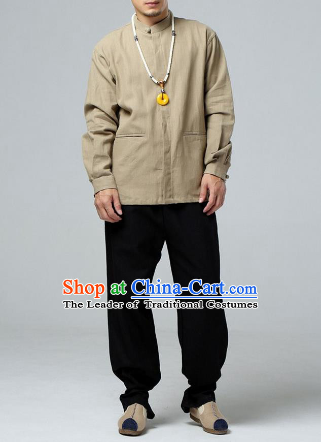 Traditional Top Chinese National Tang Suits Linen Frock Costume, Martial Arts Kung Fu Wheat Jacket Shirt, Kung fu Thin Upper Outer Garment Blouse, Chinese Taichi Thin Coats Wushu Clothing for Men