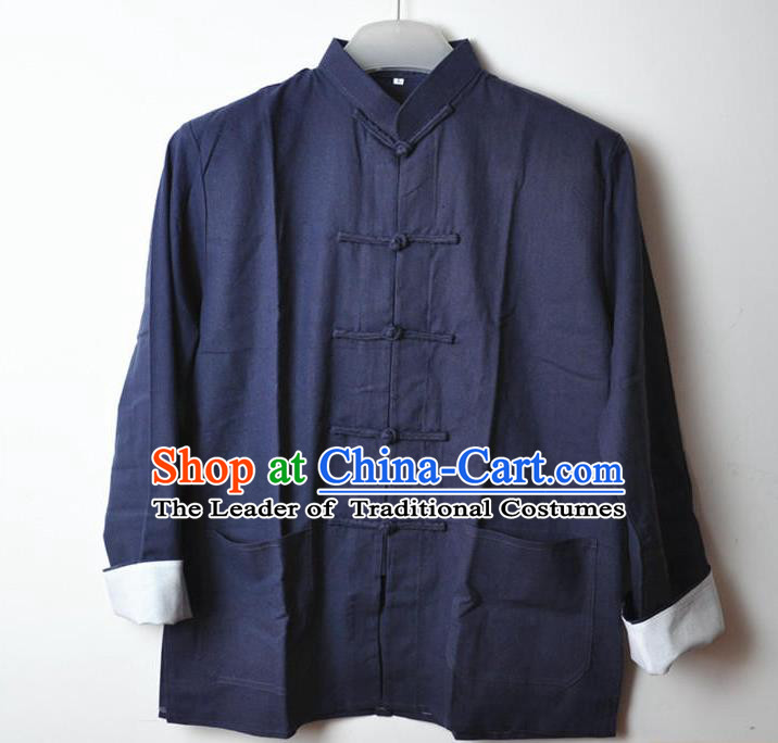 Traditional Top Chinese National Tang Suits Linen Costume, Martial Arts Kung Fu Front Opening Blue Coats, Kung fu Plate Buttons Jacket, Chinese Taichi Short Coats Wushu Clothing for Men