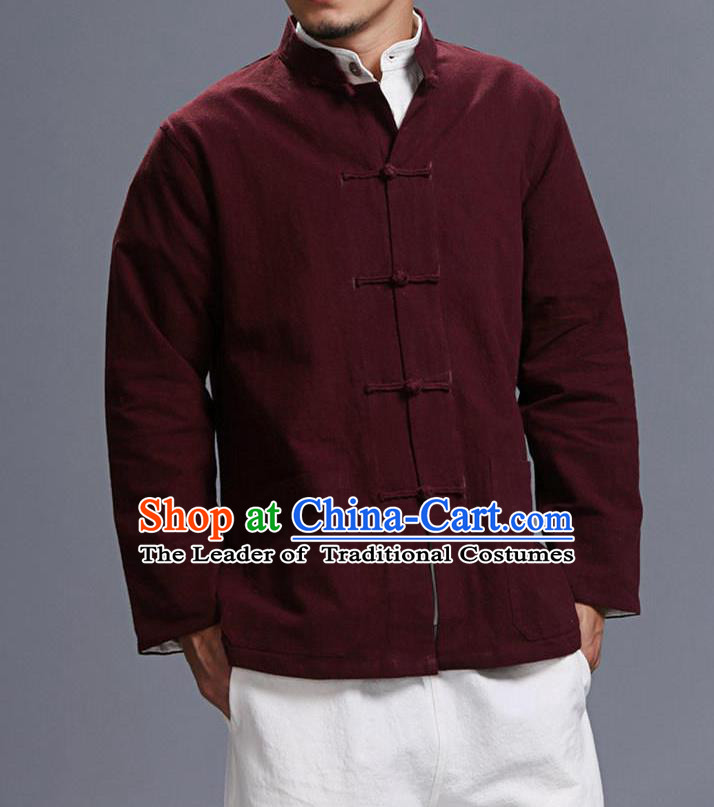 Traditional Top Chinese National Tang Suits Linen Costume, Martial Arts Kung Fu Front Opening Stand Collar Dark Red Coats, Kung fu Plate Buttons Jacket, Chinese Taichi Short Coats Wushu Clothing for Men