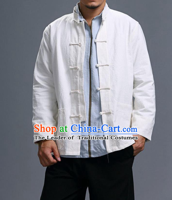Traditional Top Chinese National Tang Suits Linen Costume, Martial Arts Kung Fu Front Opening Stand Collar White Coats, Kung fu Plate Buttons Jacket, Chinese Taichi Short Coats Wushu Clothing for Men