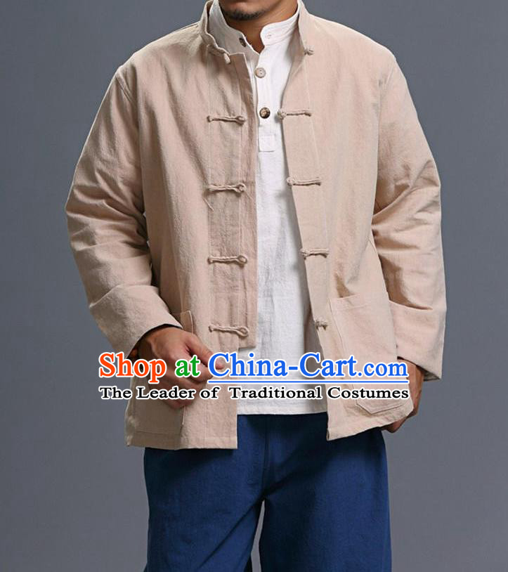 Traditional Top Chinese National Tang Suits Linen Costume, Martial Arts Kung Fu Front Opening Stand Collar Beige Coats, Kung fu Plate Buttons Jacket, Chinese Taichi Short Coats Wushu Clothing for Men