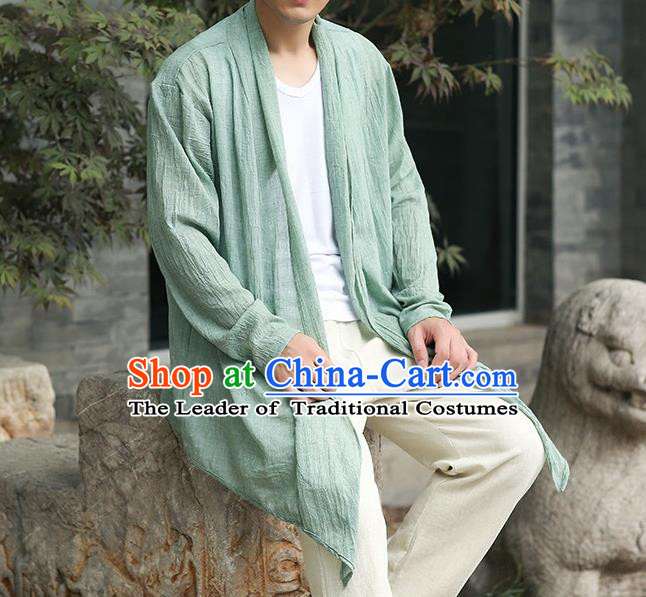 Traditional Top Chinese National Tang Suits Cotton Costume, Martial Arts Kung Fu Green Cardigan, Kung fu Thin Upper Outer Garment Jacket, Chinese Taichi Thin Coats Wushu Clothing for Men