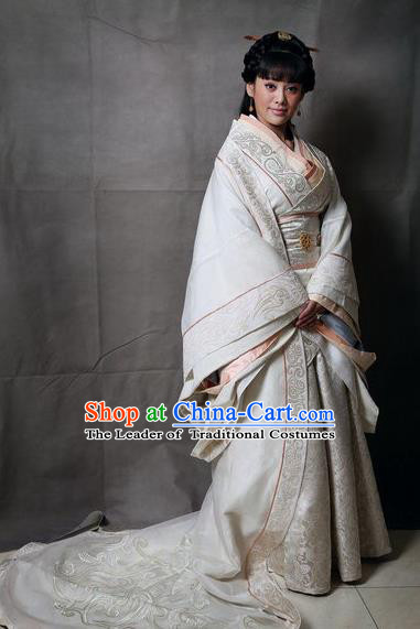 Traditional Top Chinese Ancient Imperial Empress Costume, Elegant Palace Lady Hanfu Dance Dress Chinese Qin Dynasty Imperial Queen Embroidered Tailing Clothing for Women