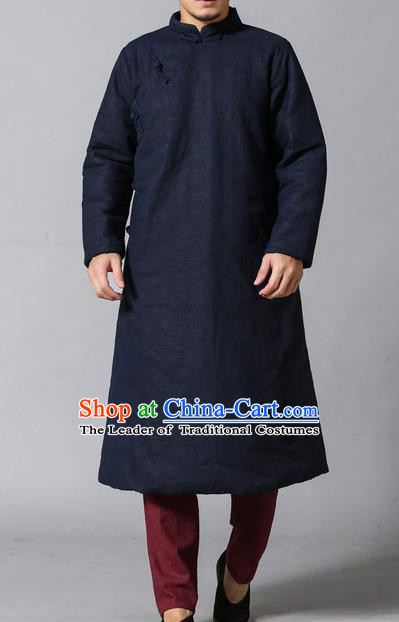 Traditional Top Chinese National Tang Suits Linen Frock Costume, Martial Arts Kung Fu Slant Opening Navy Hanfu Long Gown, Kung fu Plate Buttons Upper Outer Garment Coat, Chinese Taichi Cotton-Padded Robes Wushu Clothing for Men