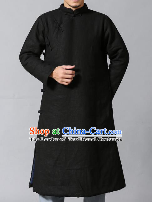 Traditional Top Chinese National Tang Suits Linen Frock Costume, Martial Arts Kung Fu Slant Opening Black Hanfu Long Gown, Kung fu Plate Buttons Upper Outer Garment Coat, Chinese Taichi Cotton-Padded Robes Wushu Clothing for Men