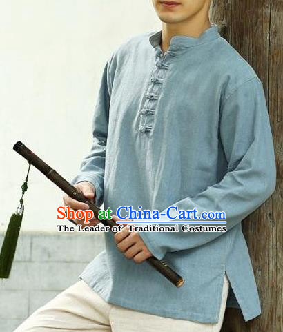 Traditional Top Chinese National Tang Suits Linen Frock Costume, Martial Arts Kung Fu Long Sleeve Light Blue T-Shirt, Kung fu Plate Buttons Upper Outer Garment Half Sleeve Blouse, Chinese Taichi Thin Shirts Wushu Clothing for Men
