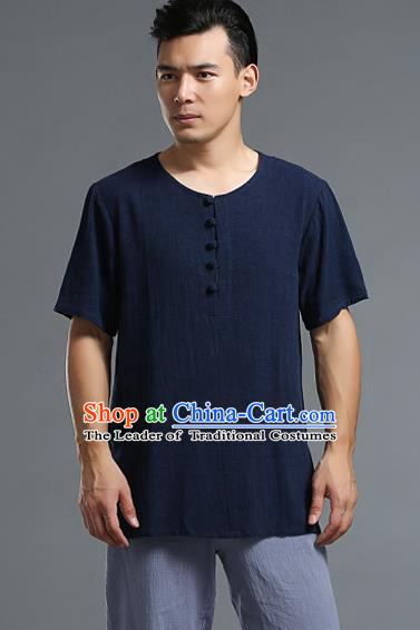 Traditional Top Chinese National Tang Suits Linen Frock Costume, Martial Arts Kung Fu Long Sleeve Navy T-Shirt, Kung fu Plate Buttons Upper Outer Garment Blouse, Chinese Taichi Thin Shirts Wushu Clothing for Men