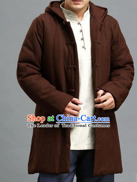 Traditional Top Chinese National Tang Suits Linen Costume, Martial Arts Kung Fu Front Opening Brown Hooded Coats, Chinese Kung fu Plate Buttons Jacket, Chinese Taichi Cotton-Padded Short Coats Wushu Clothing for Men