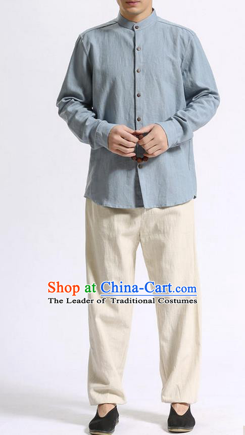 Traditional Top Chinese National Tang Suits Linen Costume, Martial Arts Kung Fu Stand Collar Light Blue Shirt, Chinese Kung fu Coconut Buttons Thin Upper Outer Garment Blouse, Chinese Taichi Thin Shirts Wushu Clothing for Men
