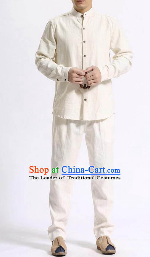 Traditional Top Chinese National Tang Suits Linen Costume, Martial Arts Kung Fu Stand Collar Beige Shirt, Chinese Kung fu Coconut Buttons Thin Upper Outer Garment Blouse, Chinese Taichi Thin Shirts Wushu Clothing for Men