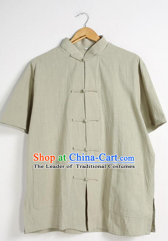 Traditional Top Chinese National Tang Suits Linen Front Opening Costume, Martial Arts Kung Fu Stand Collar Short Sleeve Green T-Shirt, Chinese Kung fu Plate Buttons Upper Outer Garment Blouse, Chinese Taichi Thin Shirts Wushu Clothing for Men