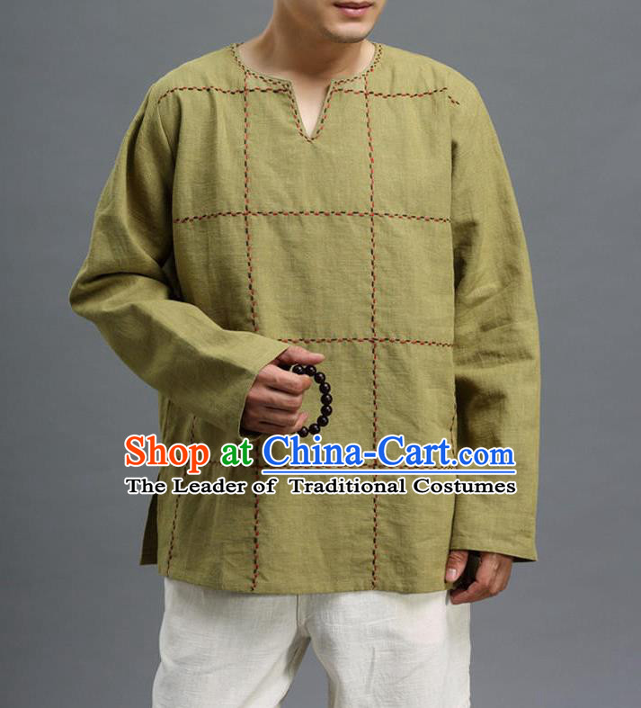 Traditional Top Chinese National Tang Suits Linen Costume, Martial Arts Kung Fu Embroidery Threads Long Sleeve Green T-Shirt, Chinese Kung fu Upper Outer Garment Blouse, Chinese Taichi Thin Shirts Wushu Clothing for Men